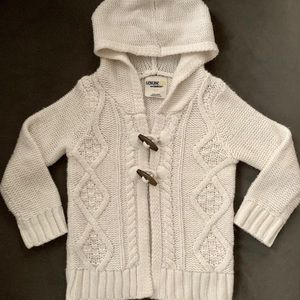 Cute White, Hooded Sweater w/ Toggle Buttons